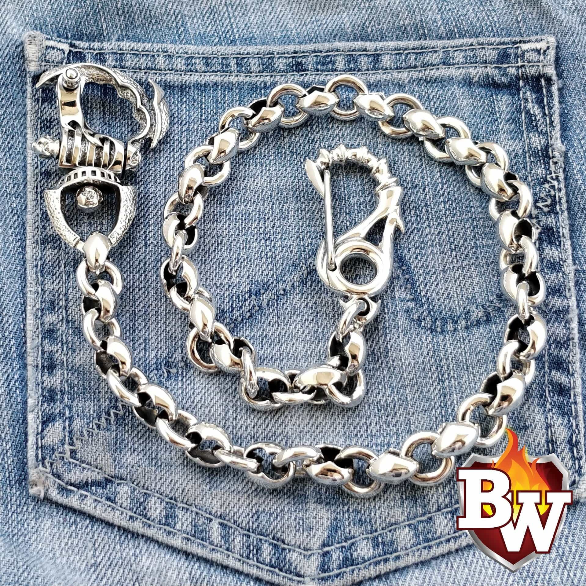 Wrath Custom German Silver Men's Biker Wallet Chain | Custom Handmade Men's Leather Wallets at Biker-Wallets.com