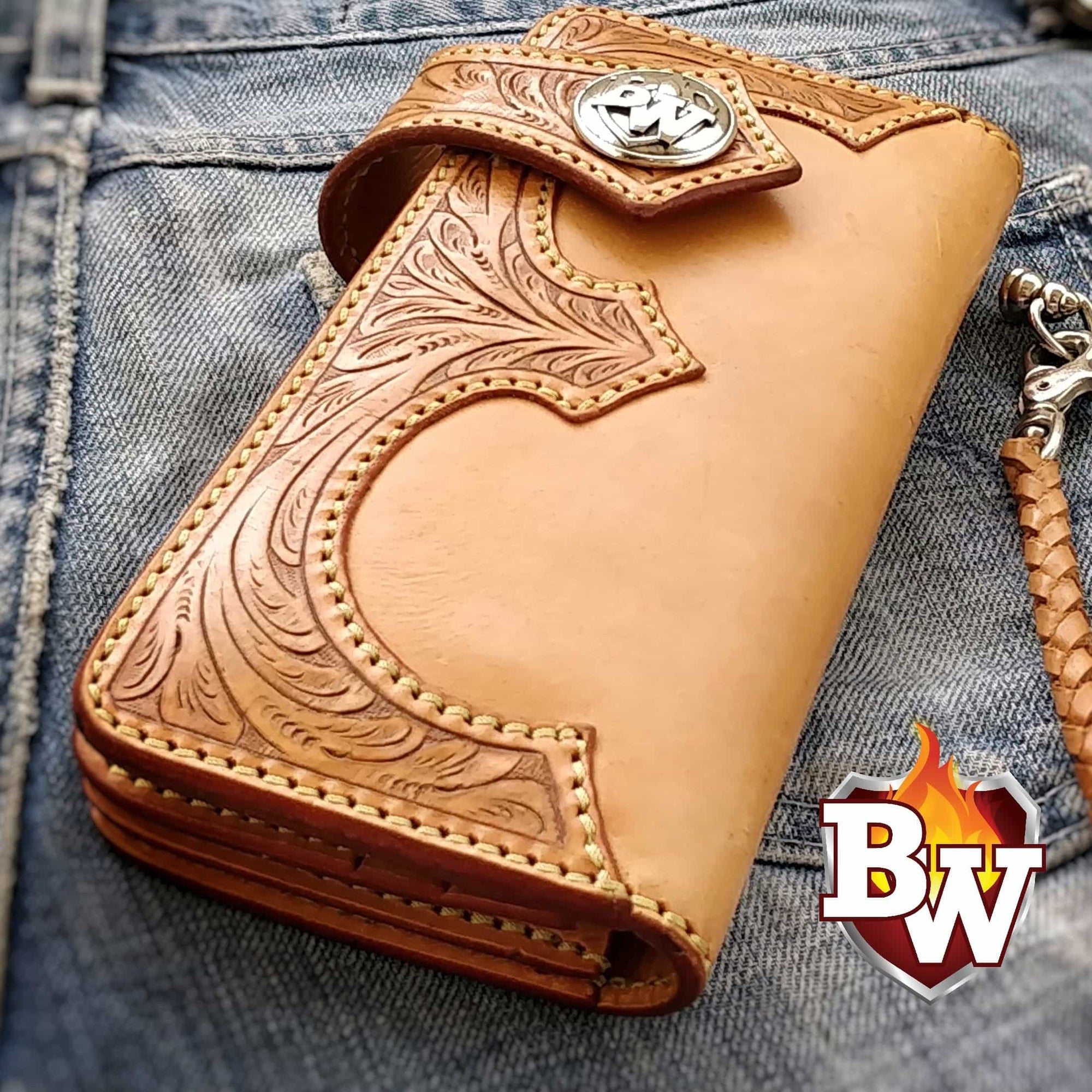 """WYOMING"" 8"" Handmade Hand Tooled Biker Wallet"