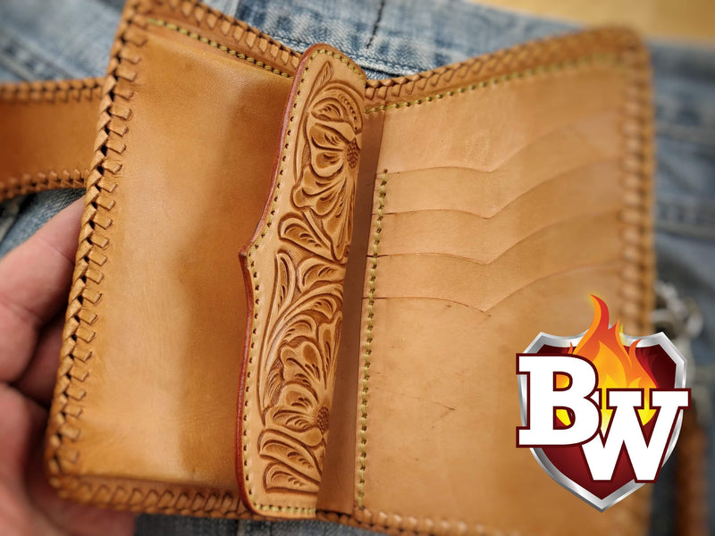 """YOSEMITE"" 6"" Handmade Leather Hand Tooled Biker Wallet"