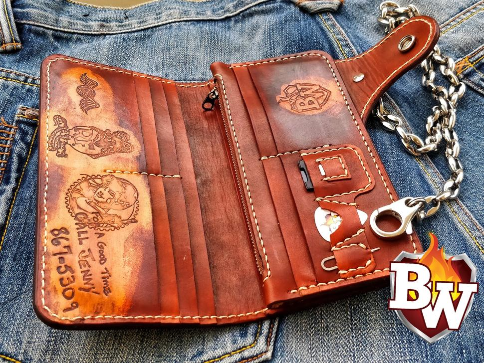 Shown in this picture is a sanded grey genuine stingray Men's Biker Wallet with Silver Skull Chain secure Loop