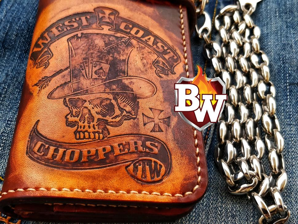 Shown in this picture is a genuine leather hand tooled Men's Custom Handmade Biker Wallet with the theme of a Koi Fish.
