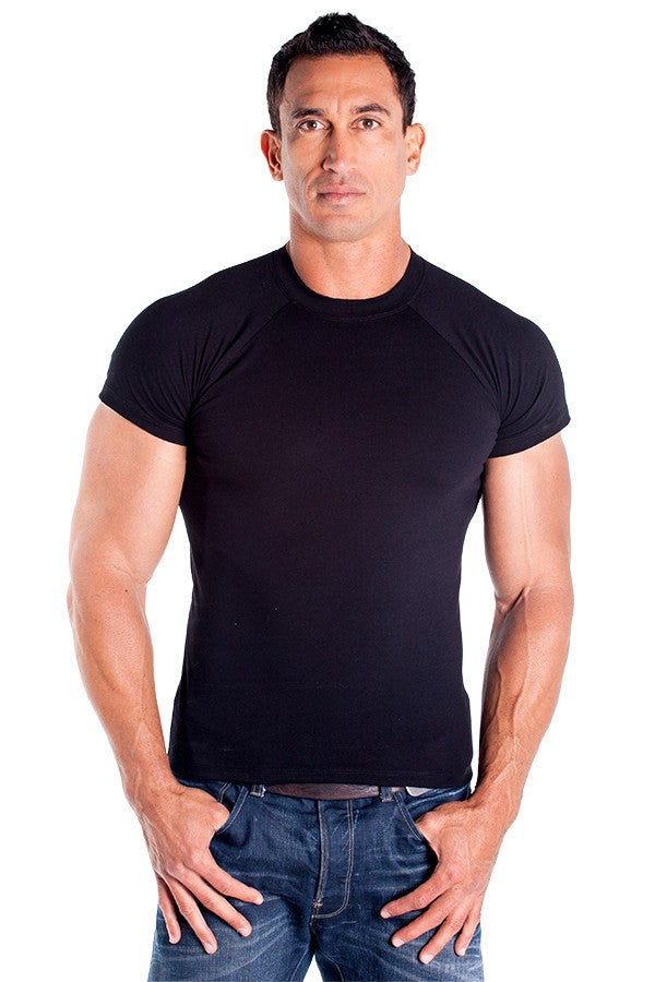 pitbull lycra fitted shirt men cotton stretch gym apparel work out tops black