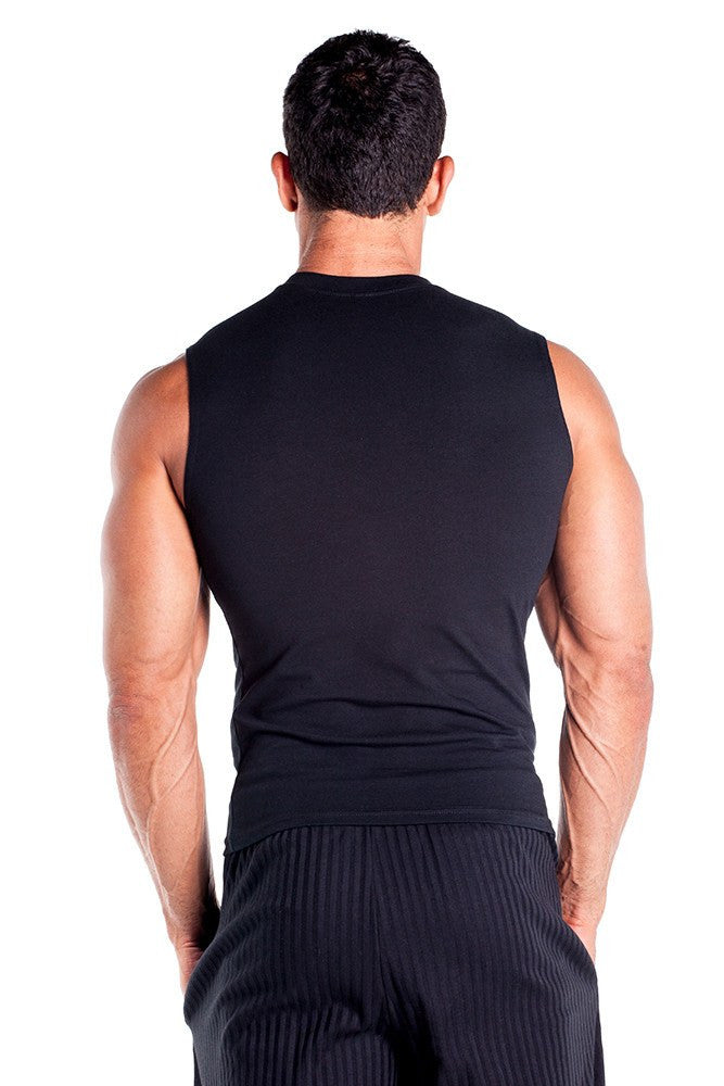 pitbull cotton lycra sleeveless tee men body building wear fitness gym clothes clothing stretch black