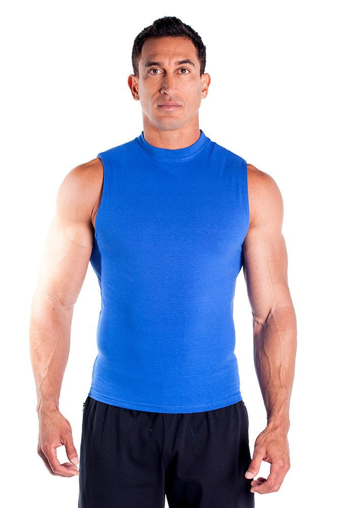 pitbull cotton lycra sleeveless tee men body building wear fitness gym clothes clothing stretch royal