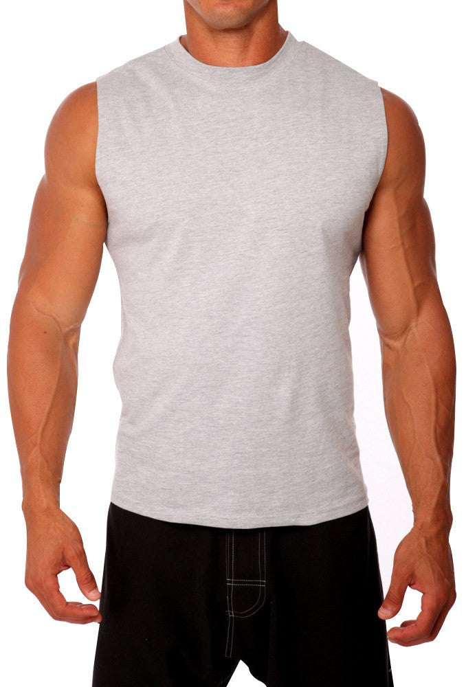 pitbull cotton lycra sleeveless tee men body building wear fitness gym clothes clothing stretch grey