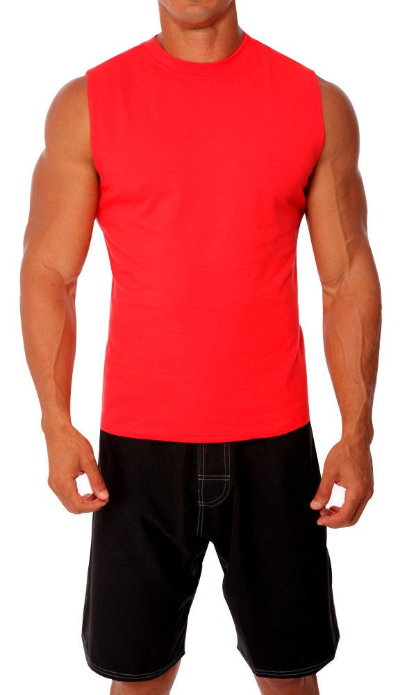pitbull cotton lycra sleeveless tee men body building wear fitness gym clothes clothing stretch red