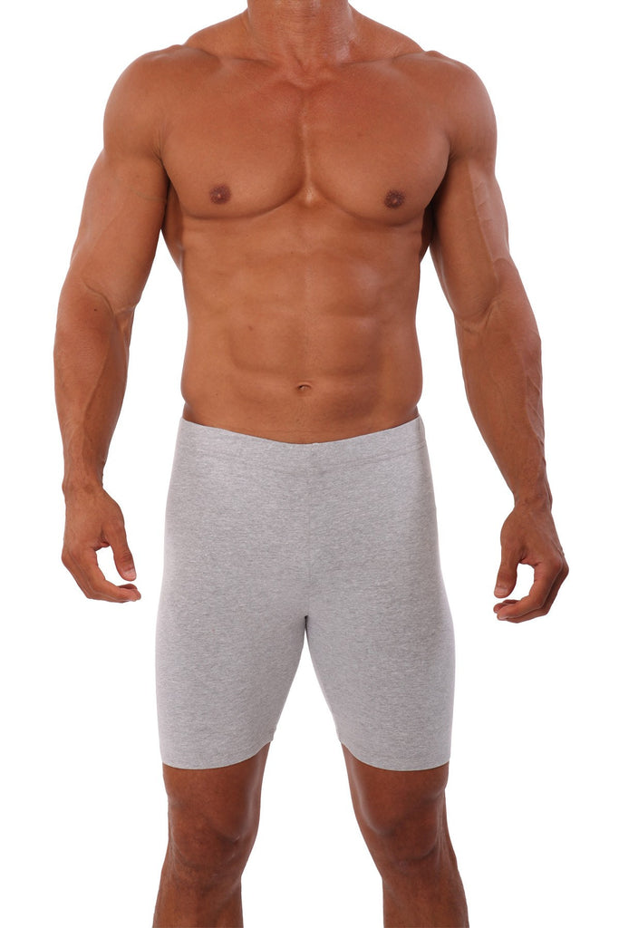 pitbull men compression biker short fitted fitness body builder clothes gym apparel weight lifting grey