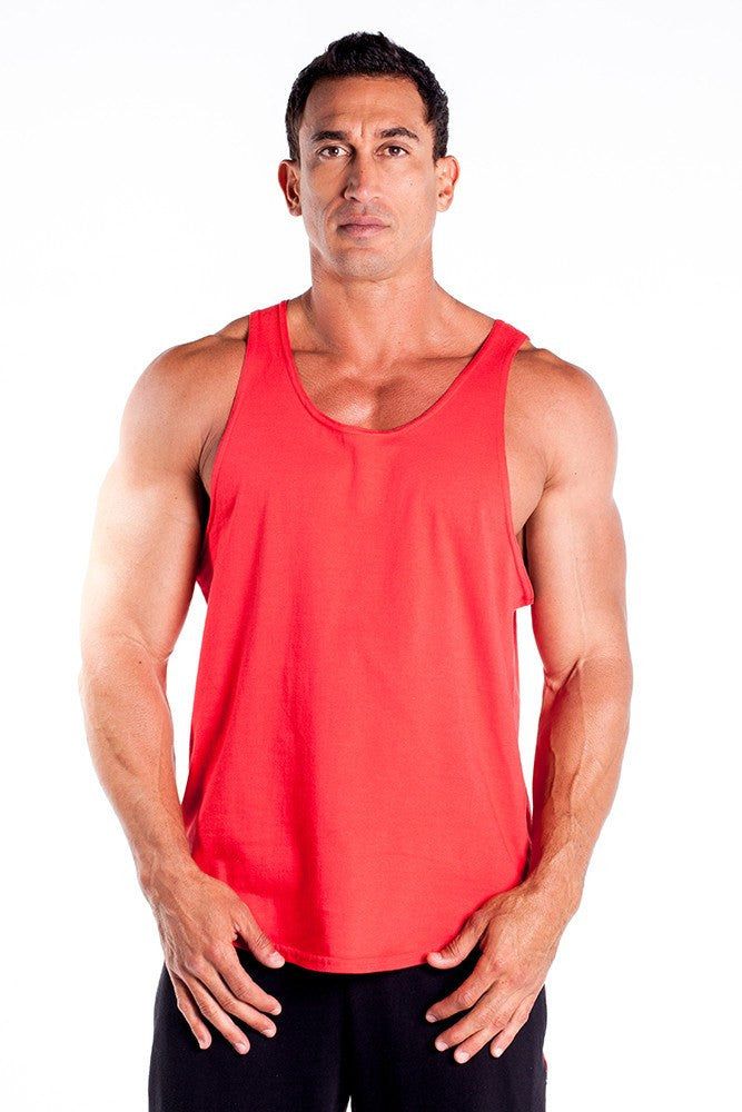 pitbull gym full cut workout tank top red body lifting apparel gym clothes quality tops