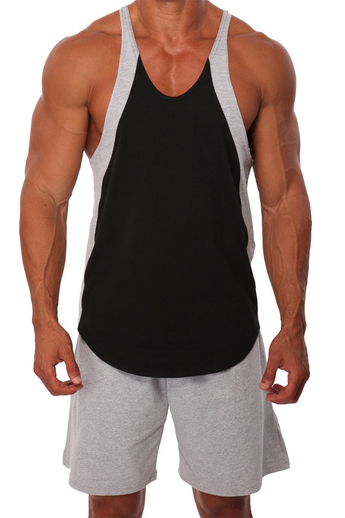 pitbull color block stringer tank top black grey work out clothes weight lifting apparel gym fitness