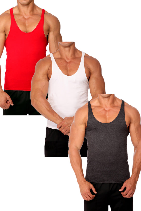 3 Pack Stretch Stringer Tank Top