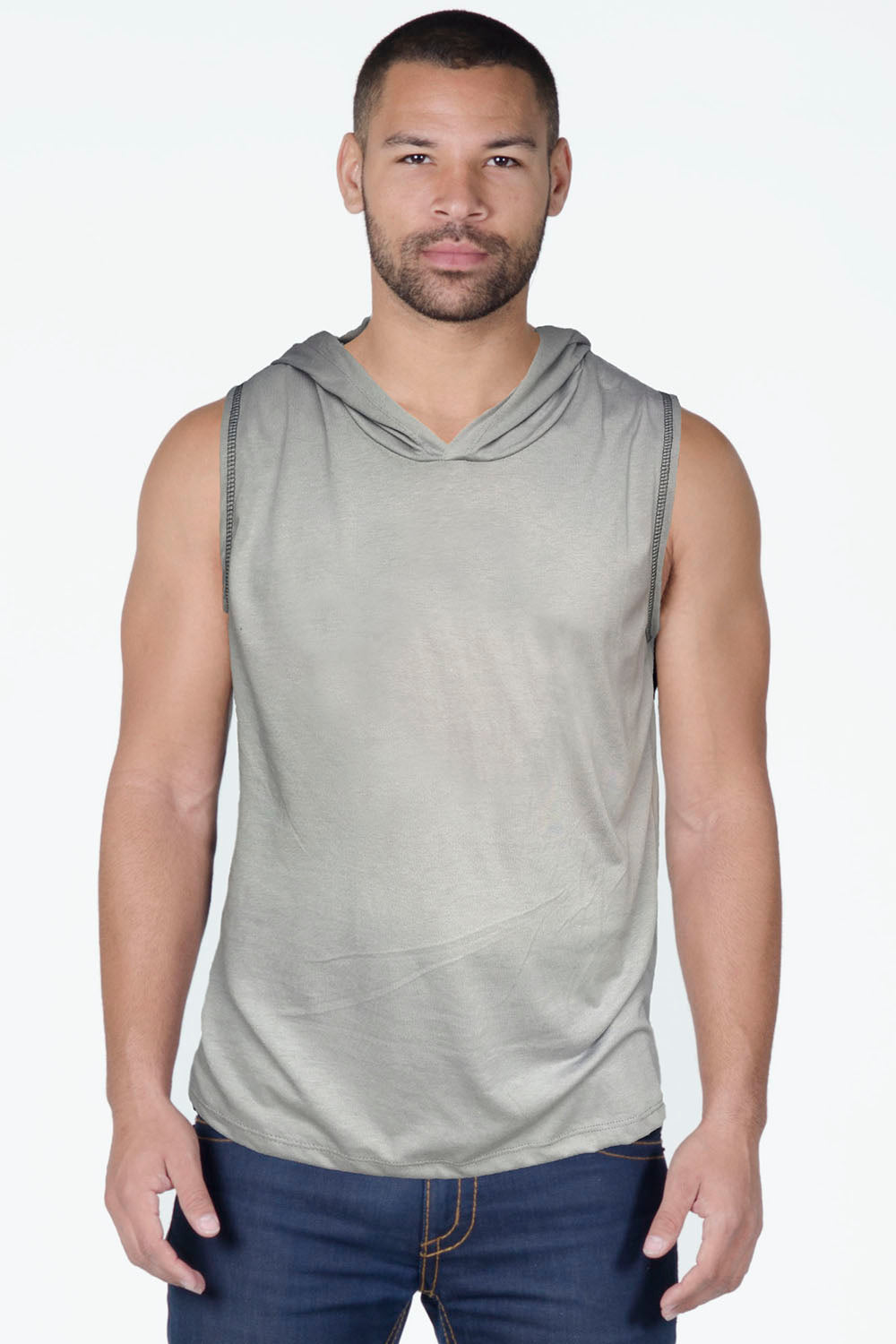 Sleeveless Cotton Muscle Hoodie