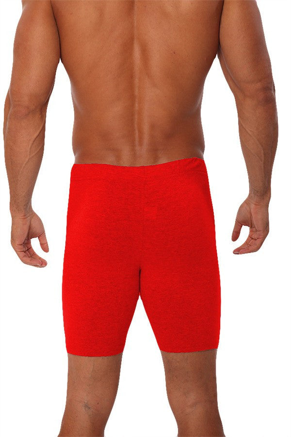 pitbull men compression biker short fitted fitness body builder clothes gym apparel weight lifting red