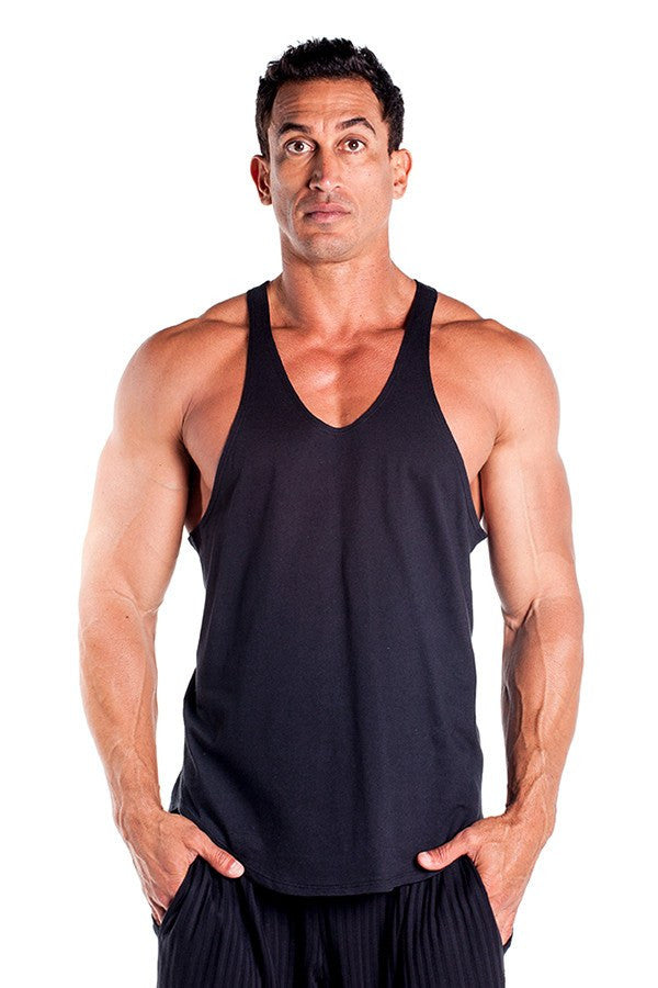 pitbull stringer tank top black body builders body lifting clothes apparel gym fitness