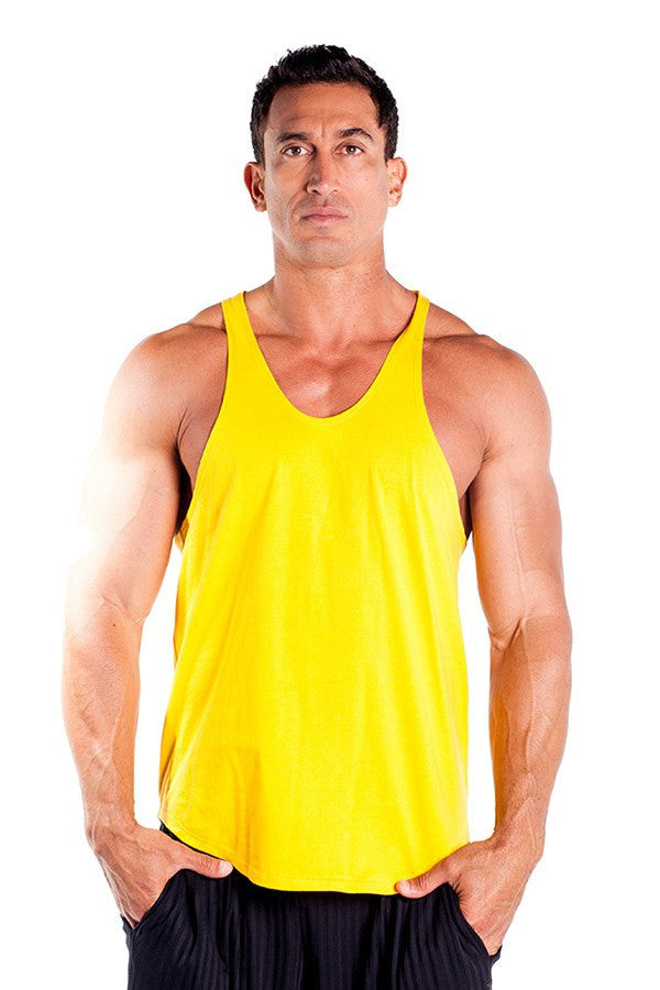 pitbull stringer tank top yellow body builders body lifting clothes apparel gym fitness