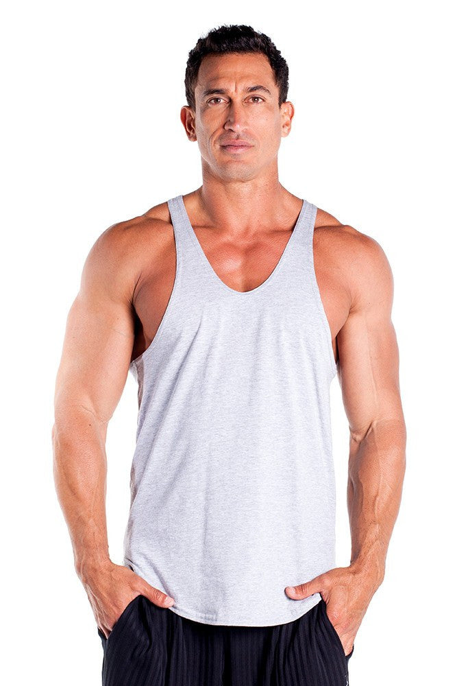 pitbull stringer tank top grey body builders body lifting clothes apparel gym fitness