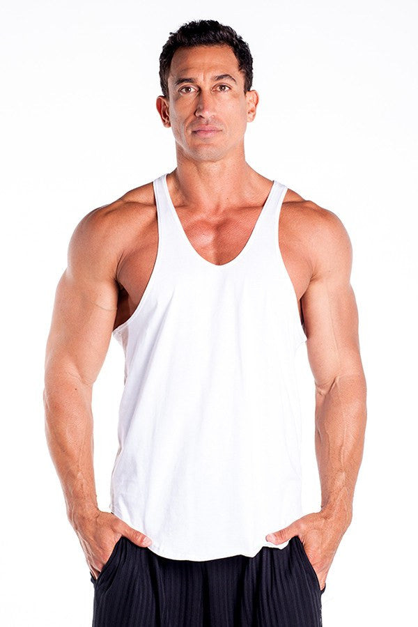 pitbull stringer tank top white body builders body lifting clothes apparel gym fitness