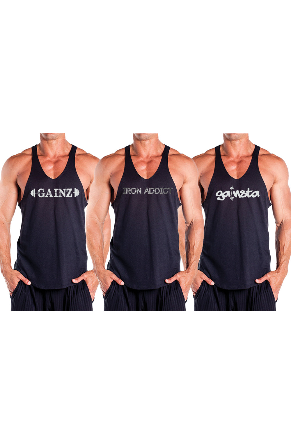 3 PACK - Best Selling Graphic Stringer Tank Tops