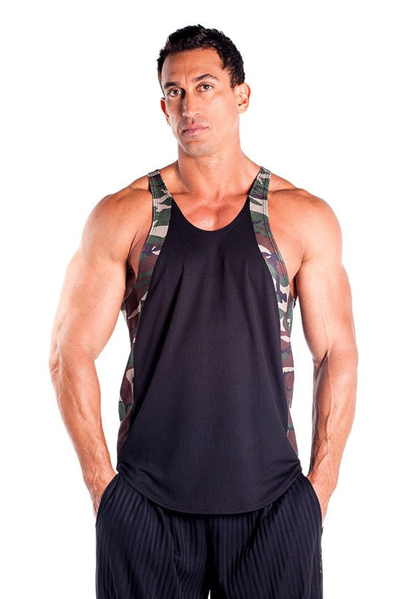 pitbull men contrast camo black tank top stringer army body lifter weight lifter gym clothes fitness wear