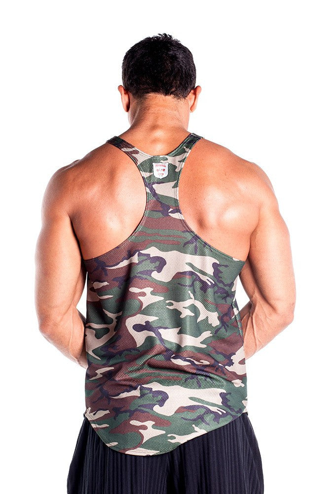 pitbull supreme dri-fit camo stringer tank top keep cool work out clothing fitness apparel body lifting weight lifting gym men