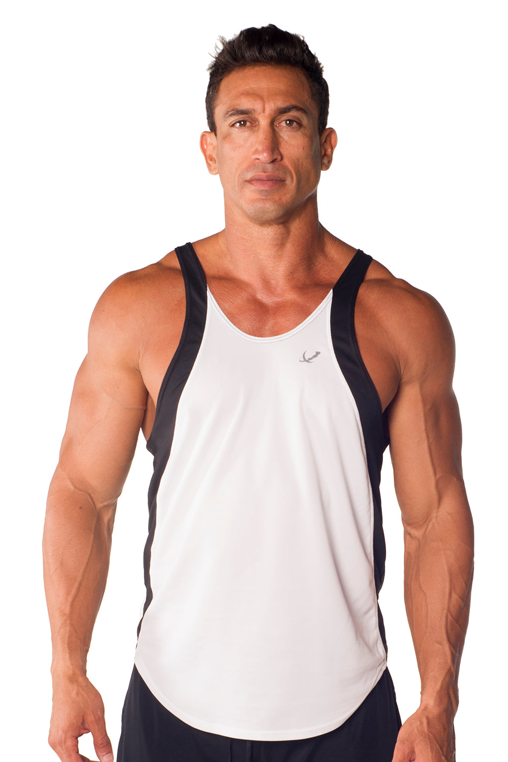 pitbull two tone dri-fit tank charcoal white trim body lifting apparel gym clothes weight training
