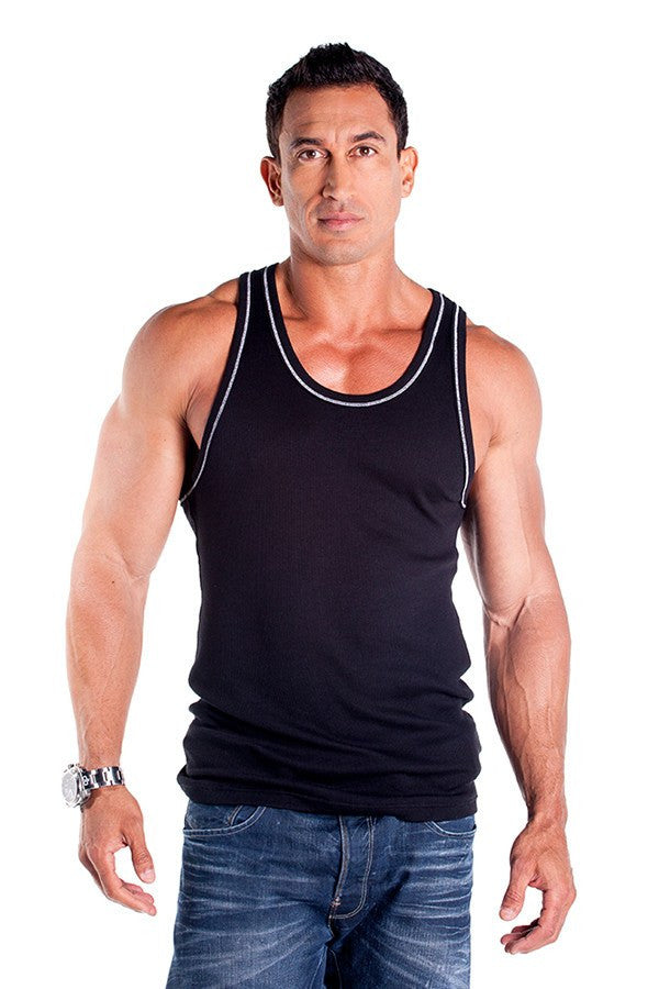 pitbull 2 x 1 contrast rib workout tank top black white threading gym apparel weight lifting clothes