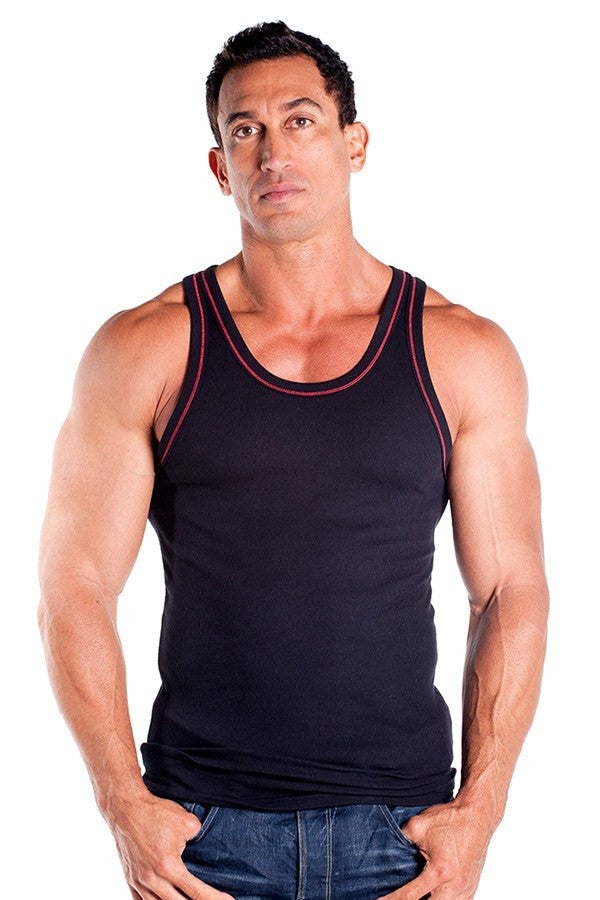pitbull 2 x 1 contrast rib workout tank top black red threading gym apparel weight lifting clothes