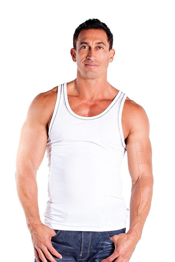 pitbull 2 x 1 contrast rib workout tank top white black threading gym apparel weight lifting clothes
