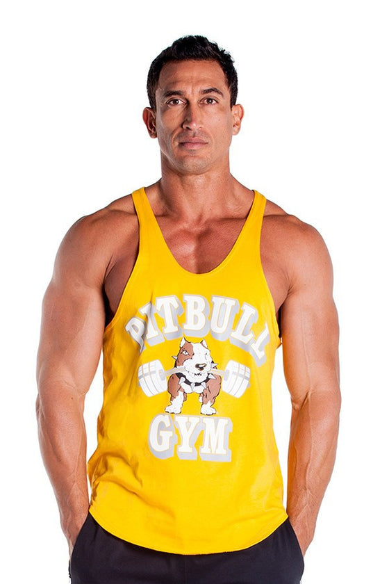 pitbull barbells stringer tank top gold fitness apparel gym weight lifting clothes