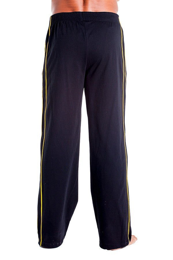 pitbull zipper pocket sweat pant black two yellow stripes gym clothes weight lifting apparel track pants sweats