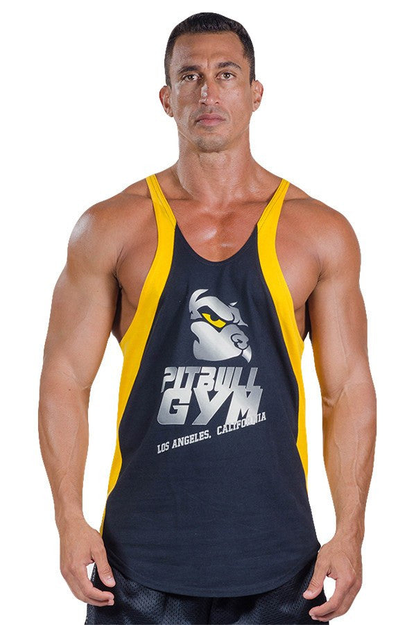 pitbull two tone made in la stringer tank top black gold trim logo body lifting apparel weight lifting clothes gymGold