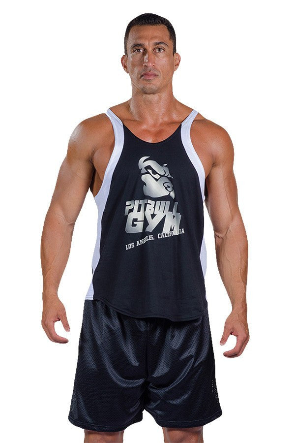 pitbull two tone made in la stringer tank top black white trim logo body lifting apparel weight lifting clothes gym
