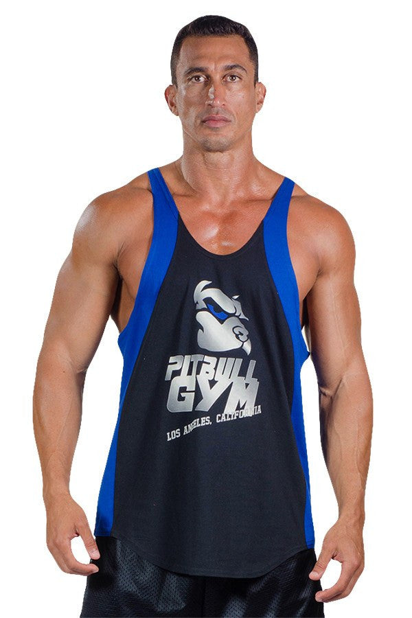 pitbull two tone made in la stringer tank top black royal trim logo body lifting apparel weight lifting clothes gym