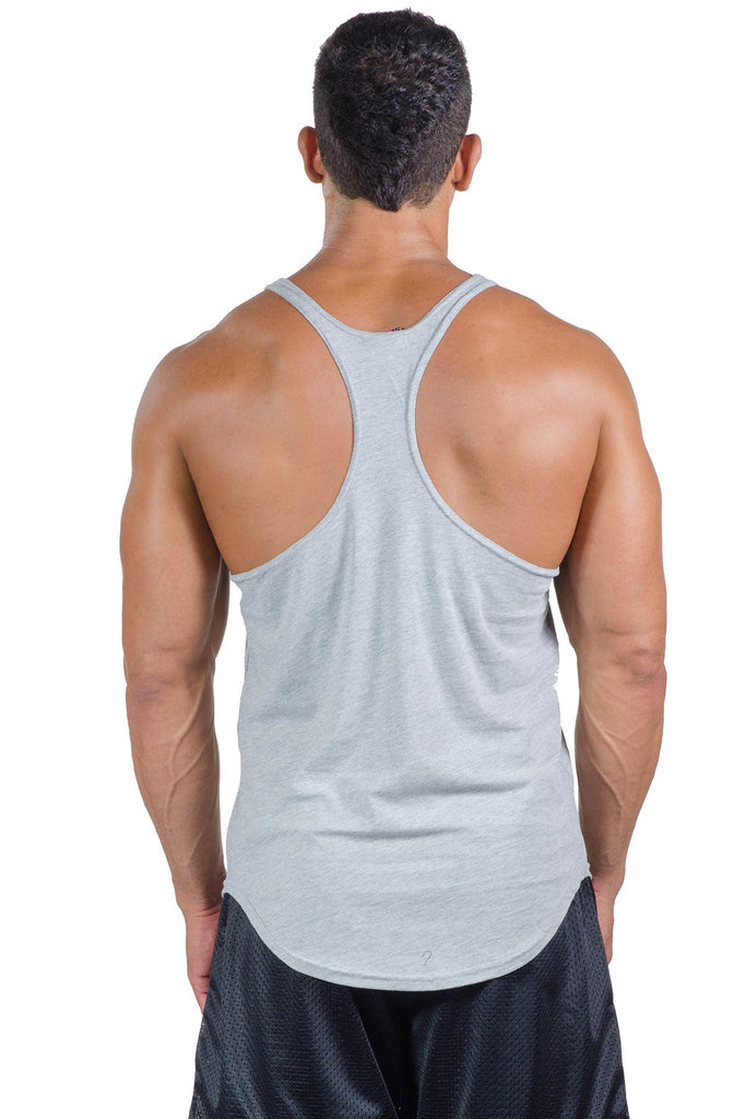pitbull stone stringer tank grey work out tops gym clothes weight lifting body lifting apparel