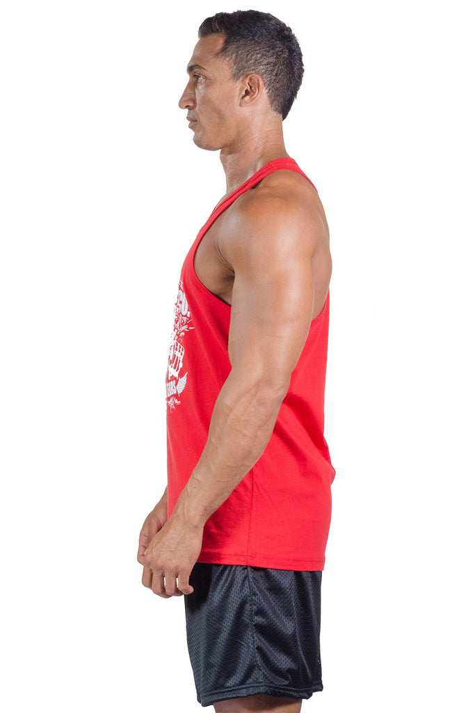 pitbull gym blood sweat tears tank top red body lifting weight lifting