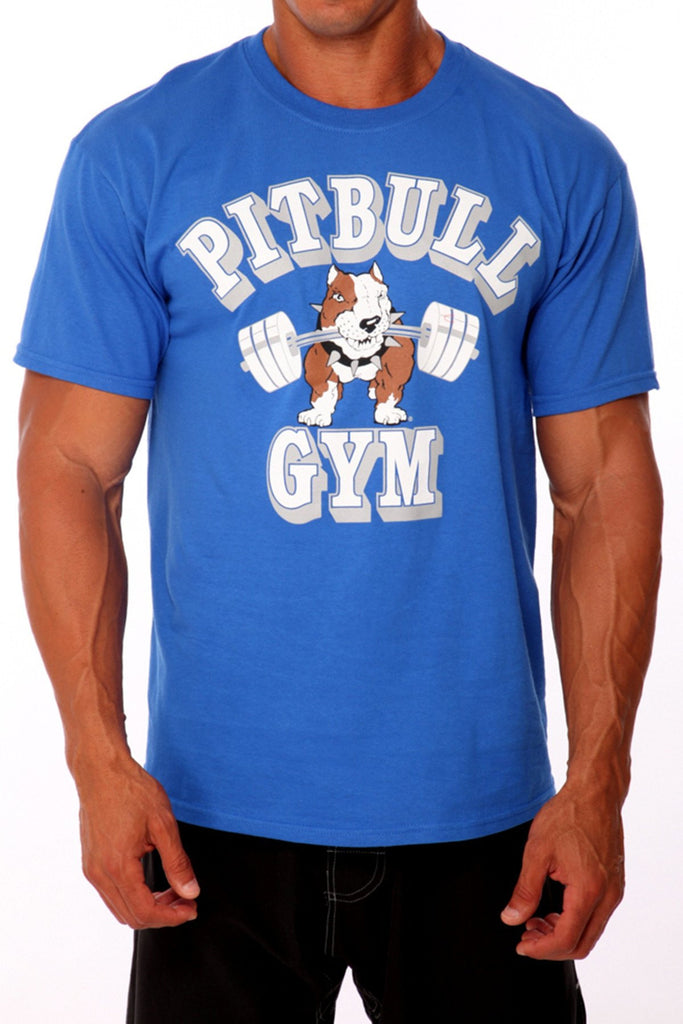 pitbull barbells t shirt men royal work out apparel gym clothing weight lifting body lifting fitness