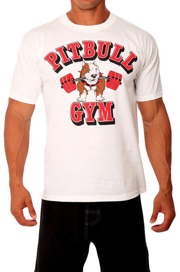 95c3ac68c ... pitbull barbells t shirt men white red logo work out apparel gym  clothing weight lifting body ...