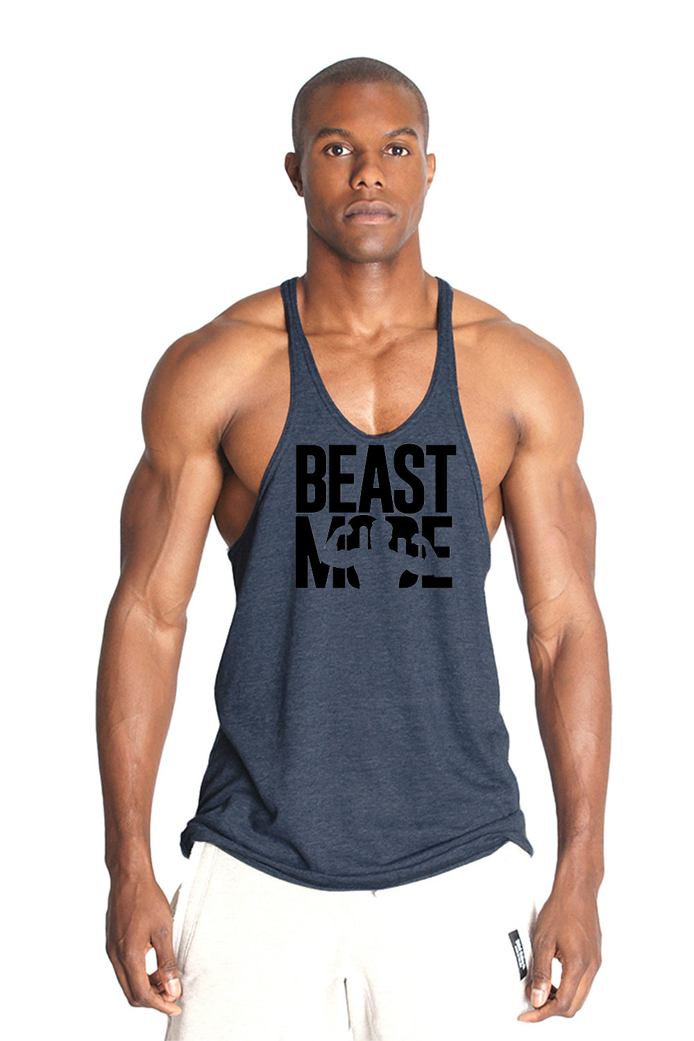 Beast Mode Triblend Fitness Stringer Y Back Tank