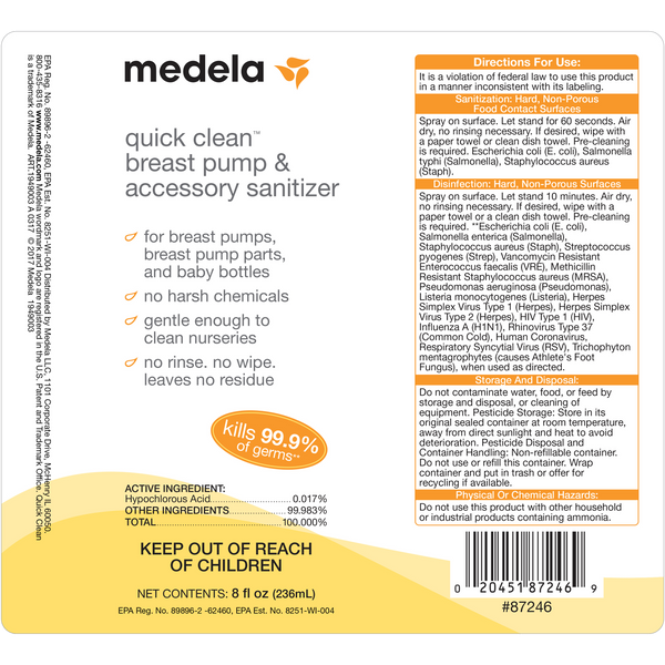 Medela Quick Clean Breast Pump Accessory Sanitizer 8 Ounce 1