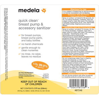 Medela Quick Clean Breast Pump & Accessory Sanitizer, 8 ounce