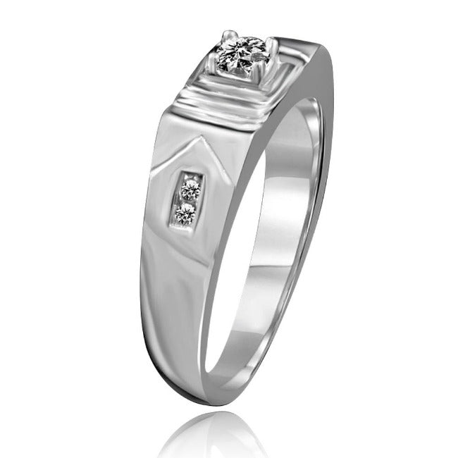 Round Diamond Vaneer cubic zircon Stainless Steel Men's  Ring - Diamond Veneer Jewelry