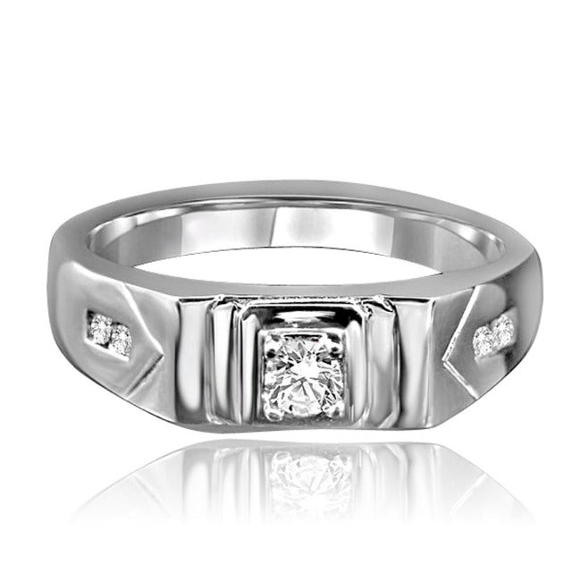 0.2 CT.(4mm) Intensely Radiant Round Diamond Veneer Cubic Zirconia set in Fine Stainless Steel Men's Ring. 635R1012 - Diamond Veneer Jewelry