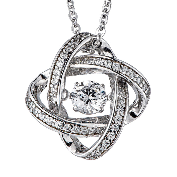 Radiant Round Dancing Diamond Sterling Silver Pendant