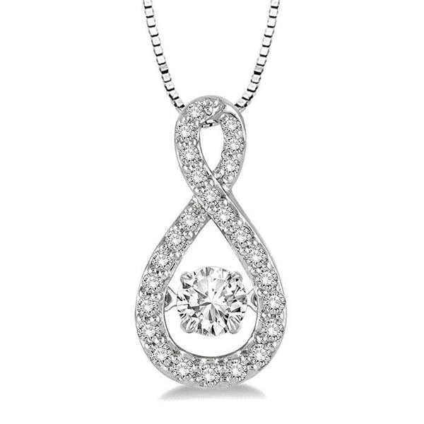 0.25CT intensely Radiant Round Dancing Diamond Veneer Cubic Zirconia Sterling Silver Perpetual Motion pendant. 635P02 - Diamond Veneer Jewelry