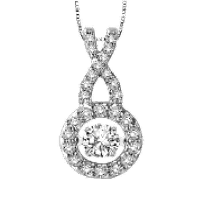 Dancing Diamond Veneer Cubic zirconia Perpetual motion Sterling silver Pendant. - Diamond Veneer Jewelry