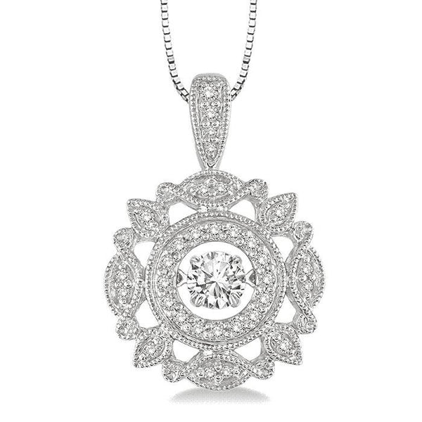 0.25CT intensely Radiant Round Dancing Diamond Veneer Cubic Zirconia Sterling Silver Perpetual Motion pendant. 635P24 - Diamond Veneer Jewelry