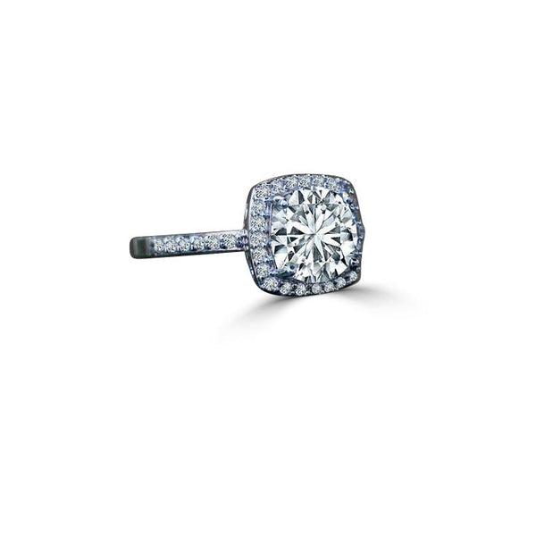 0.50 CT. Intensely Radiant Cushion Square Center Diamond Veneer Cubic Zirconia with Halo Settings Set in Sterling Silver Ring. 635R203 - Diamond Veneer Jewelry