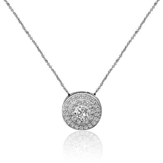 0.50 ct. intensely radiant round diamond veneer cubic zirconia sterling silver pendant. 635p3230