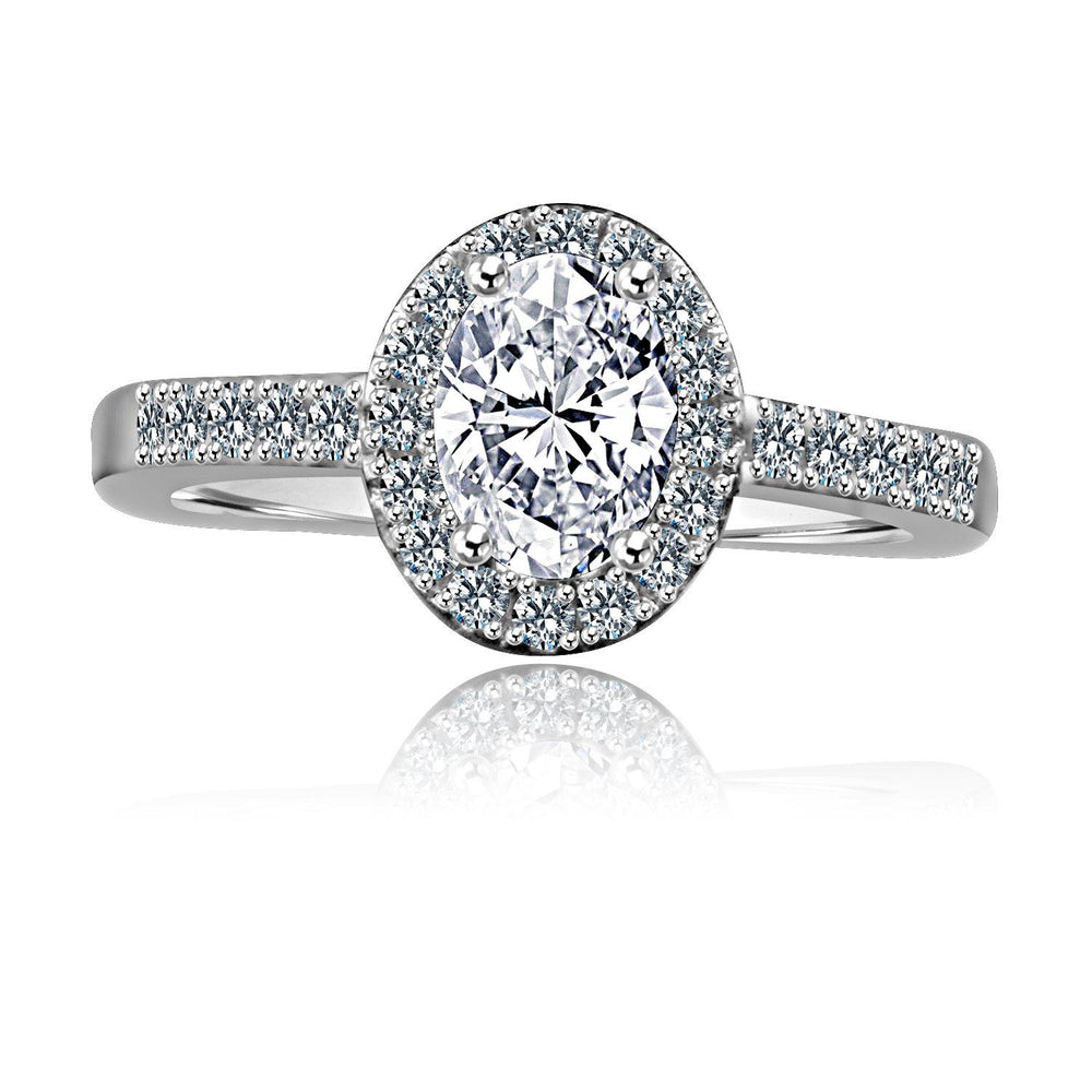 0.75 CT. Intensely Radiant Oval Diamond Veneer Cubic Zirconia with Halo Engagement Sterling Silver Ring. 635R3231 - Diamond Veneer Jewelry