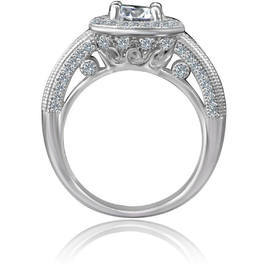 0.75 CT. Intensely Radiant Round Diamond Veneer Cubic Zirconia with Halo Floating Micro Pave Engagement/Wedding Sterling Silver Ring. 635R4001 - Diamond Veneer Jewelry