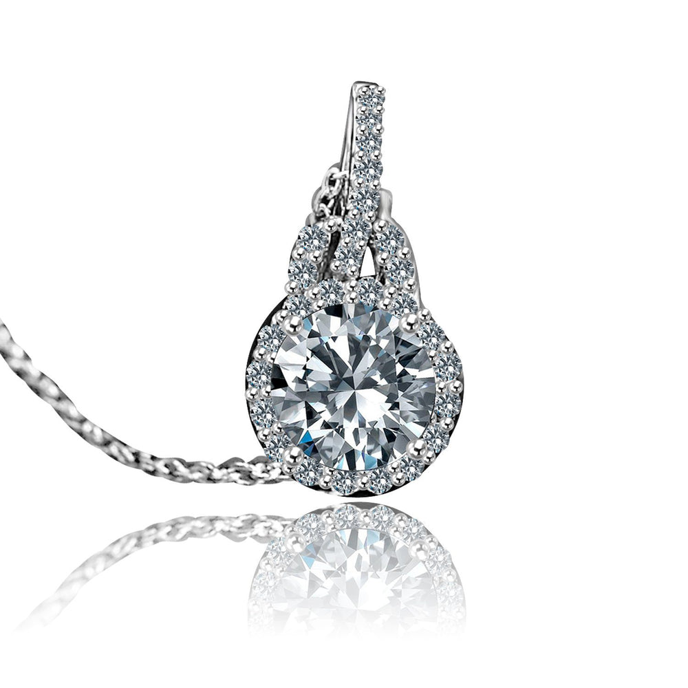 0.75CT intensely radiant Round Diamond Veneer Cubic Zirconia Halo Setting Sterling Silver Pendent. 635P25367